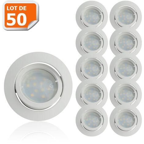 Lot de 50 Spot Led Encastrable Complete Blanc Orientable lumière Blanc Neutre eq. 50W ref.888