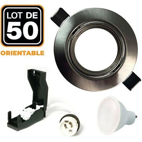 Lot de 50 Spots encastrable orientable INOX avec GU10 LED de 7W eqv. 56W
