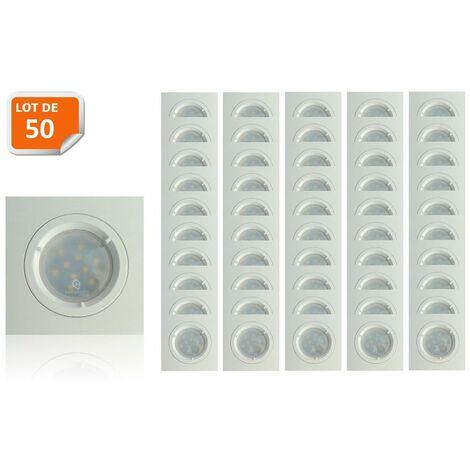 Lot de 50 Spots Led Blanc Carré lumière Blanc Neutre 5W eq. 50W ref.464