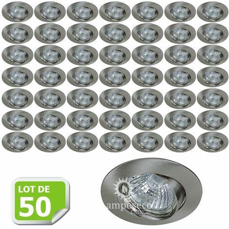 Lot de 50 Support encastrable orientable ronde pour ampoules halogènes, CFL ou LED diametre 81mm Couleur acier brossé ref.970