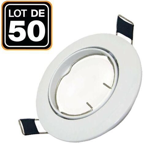 Lot de 50 Support Spot LED Orientable Rond D90 Blanc