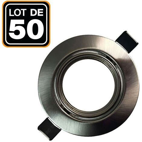 Lot de 50 Supports spot orientable Inox , Diametre 82mm trou de perçage 65mm