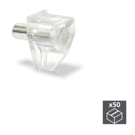 Lot de 50 supports transparents Emuca avec pivot D. 3 mm pour étagères en bois