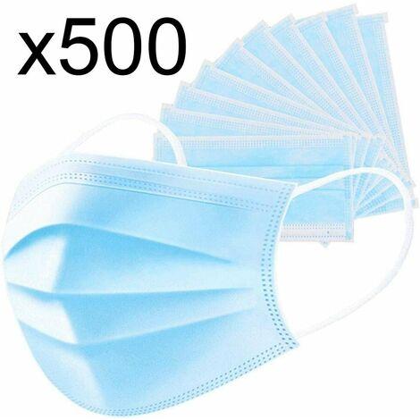 Lot de 500 masque chirurgical jetable protection respiratoire 3 couches pour le visage hypoallergénique et respirant Norme CE