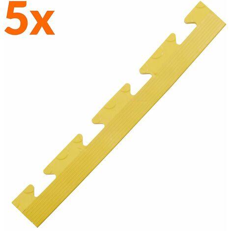 Lot de 5x bordure biseautée PVC à clipser | Pour dalles de garage | HxLxP 12 x 470 x 60 mm | Pastillée | Femelle | Jaune - Jaune