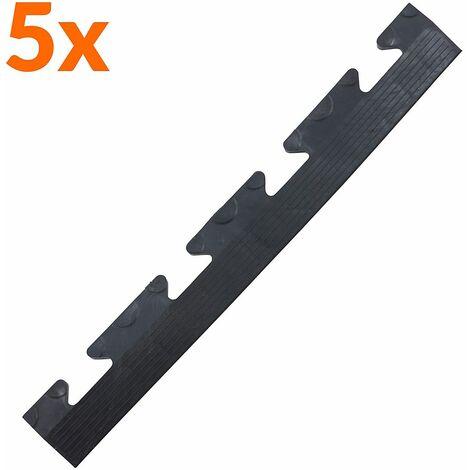 Lot de 5x bordure biseautée PVC à clipser | Pour dalles de garage | HxLxP 12 x 470 x 60 mm | Pastillée | Femelle | Noir - Noir