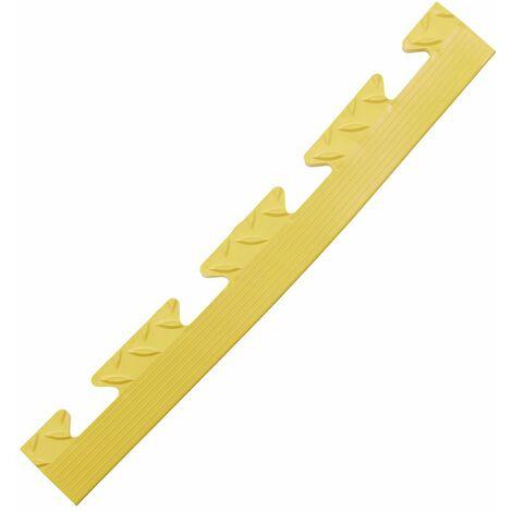 Lot de 5x bordure biseautée PVC à clipser | Pour dalles de garage | HxLxP 12 x 470 x 60 mm | Rainurée | Femelle | Jaune - Jaune