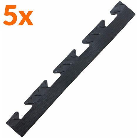 Lot de 5x bordure biseautée PVC à clipser | Pour dalles de garage | HxLxP 12 x 470 x 60 mm | Rainurée | Femelle | Noir | - Noir