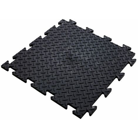 Lot de 5x dalle PVC pour garage à clipser | HxLxP 12 x 470 x 470 mm | Rainurée | Noir | Certeo - Noir