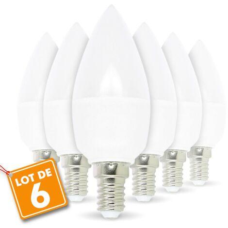 Lot de 6 ampoules LED E14 5.5W eq 40W Blanc chaud