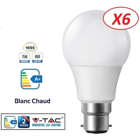 V Lot Lumière Chaud Led Culot Tac 3000k De B22 12wéq75w1055lm Blanc Ampoules 200° Angle 6 m0Py8OvNnw