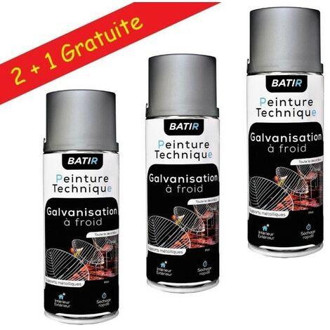 Lot de 6 bombes de peinture technique Galvanisation à froid Gris mat - Aérosol 400ml – Intérieur et Extérieur 1 m² par bombe - Lot de 3.