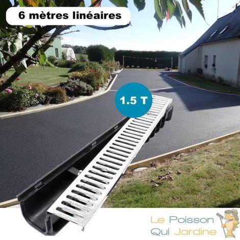 Lot de 6 : Caniveau 1 mètre 1,5 Tonnes pour drainage d'eaux usées.