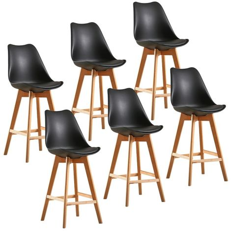 Lot de 6 Chaise de bar, Tabouret de Bar - Style Scandinave