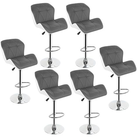 LOT DE 6 CHAISE TABOURET DE BAR - SIMILI GRIS/BLANC - CONFORTABLE ET LUXE - HAUTEUR REGLABLE 55-75 CM