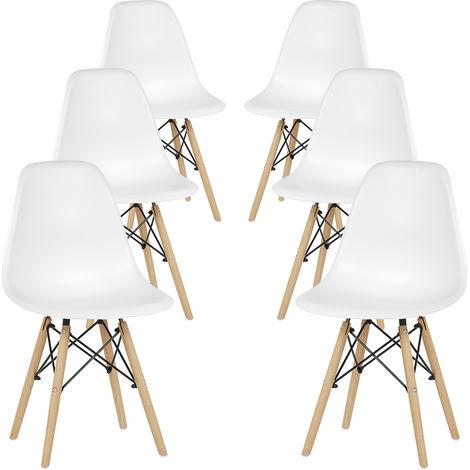 Lot de 6 chaises au Design Moderne de Style scandinave, Lia par MCC (blanc)