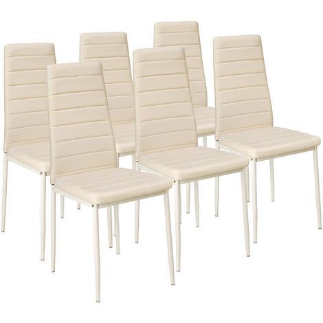 Lot de 6 chaises avec surpiqûre