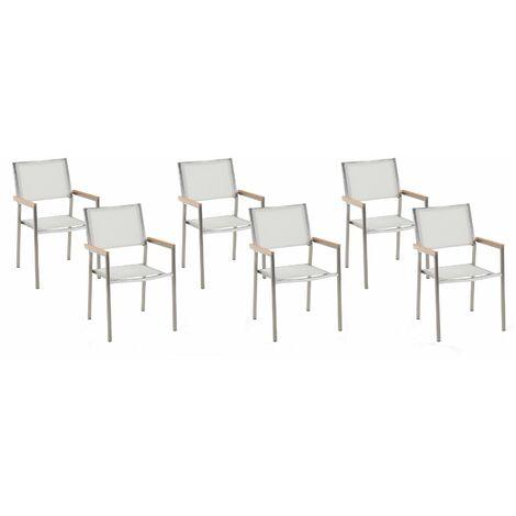 Lot de 6 chaises blanches en acier GROSSETO