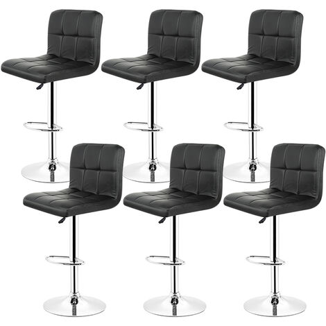 Lot de 6 Chaises de Bar Noir Tabouret de Bar Réglable de 93 - 113 cm