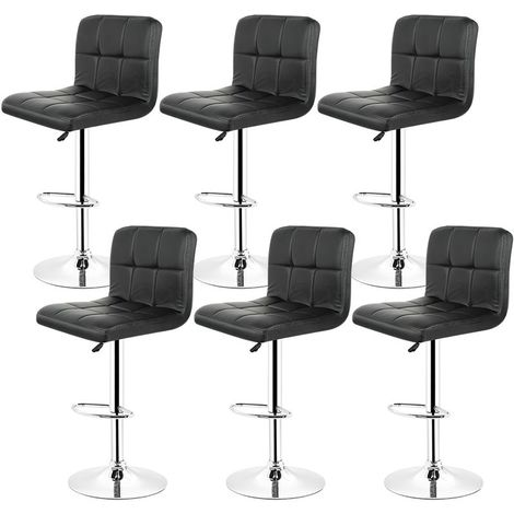 Lot de 6 Chaises de Bar Noir, Tabouret de Bar Réglable de 93 - 113 cm