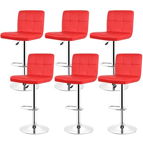 Lot de 6 Chaises de Bar Rouge Tabouret de Bar Réglable de 93 - 113 cm