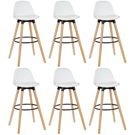 LOT DE 6 CHAISES DE BAR STYLE SCANDINAVE 39.5*44*91CM