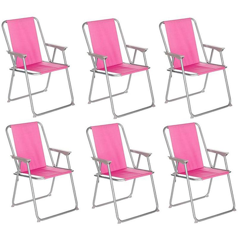 Pegane - Lot de 6 chaises de camping pliantes coloris rose - L. 74.5 x l. 53 x H. 7cm
