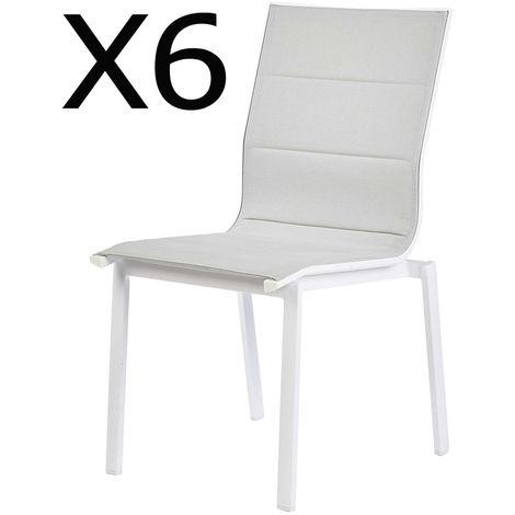 Lot De 6 Chaises De Jardin En Aluminium Coloris Blanc Dim 57 X 55 5 X H87 5 Cm Pegane