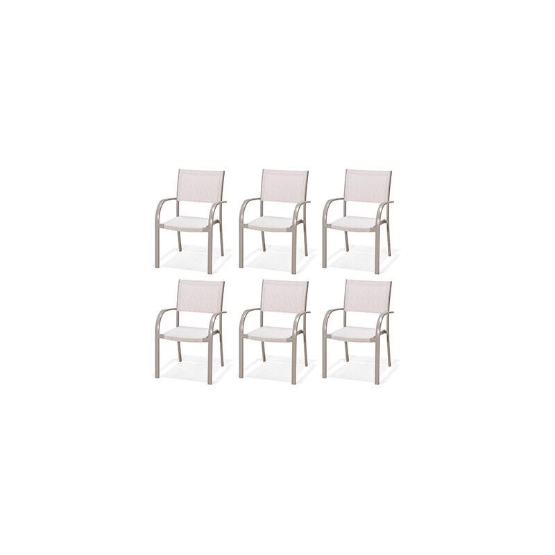 Lot de 6 chaises de jardin en aluminium et PVC taupe - SIENA