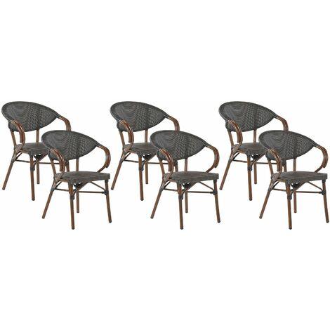 Lot de 6 chaises de jardin gris / effet bois foncé CASPRI