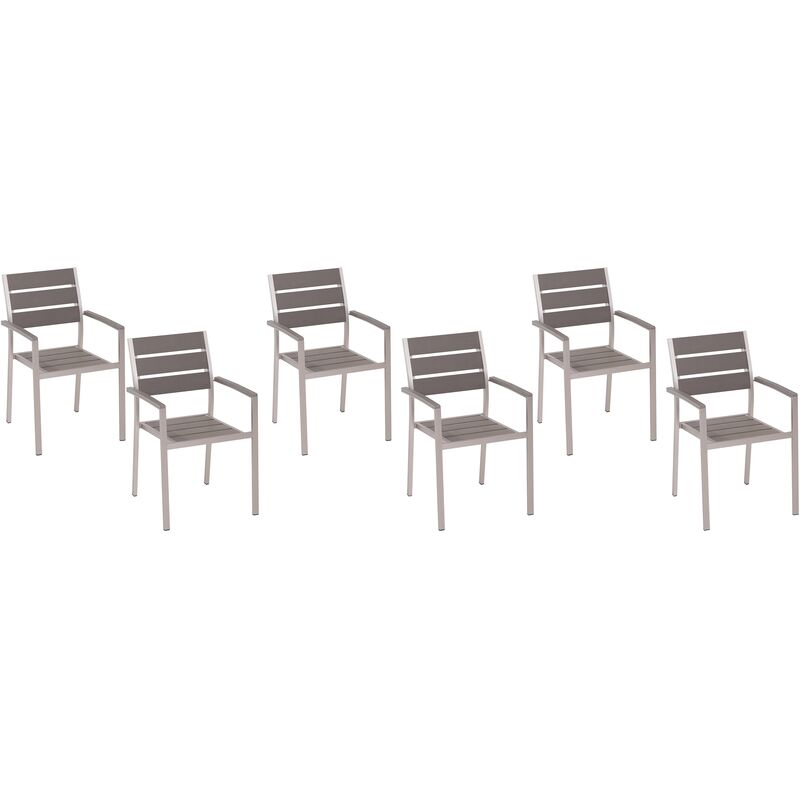 Beliani - 6 chaises de jardin en aluminium et bois synthétique gris VERNIO