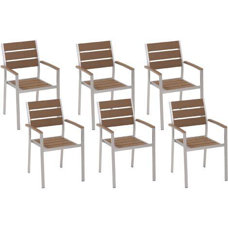 Lot de 6 chaises de jardin modernes bois clair et argentées