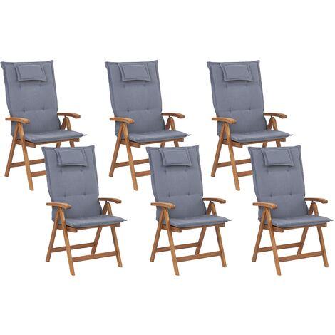 Lot de 6 chaises de jardin pliantes en bois clair coussins bleus JAVA