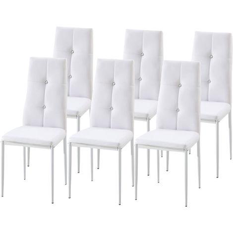 Lot de 6 chaises de salle à manger BELA Blanc