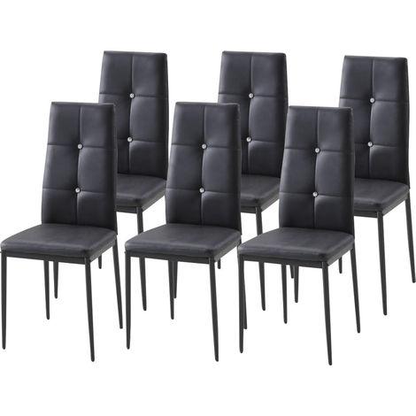 Lot de 6 chaises de salle à manger BELA Noir