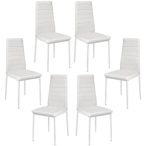 Lot de 6 chaises de salle à manger blanc - Style contemporain