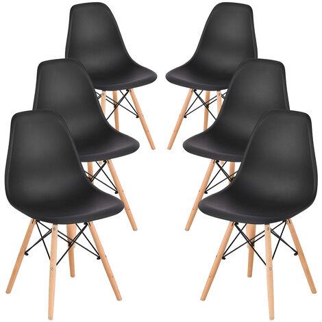 Lot de 6 Chaises de Salle à Manger Chaise de Cuisine avec Pieds en Bois Noir