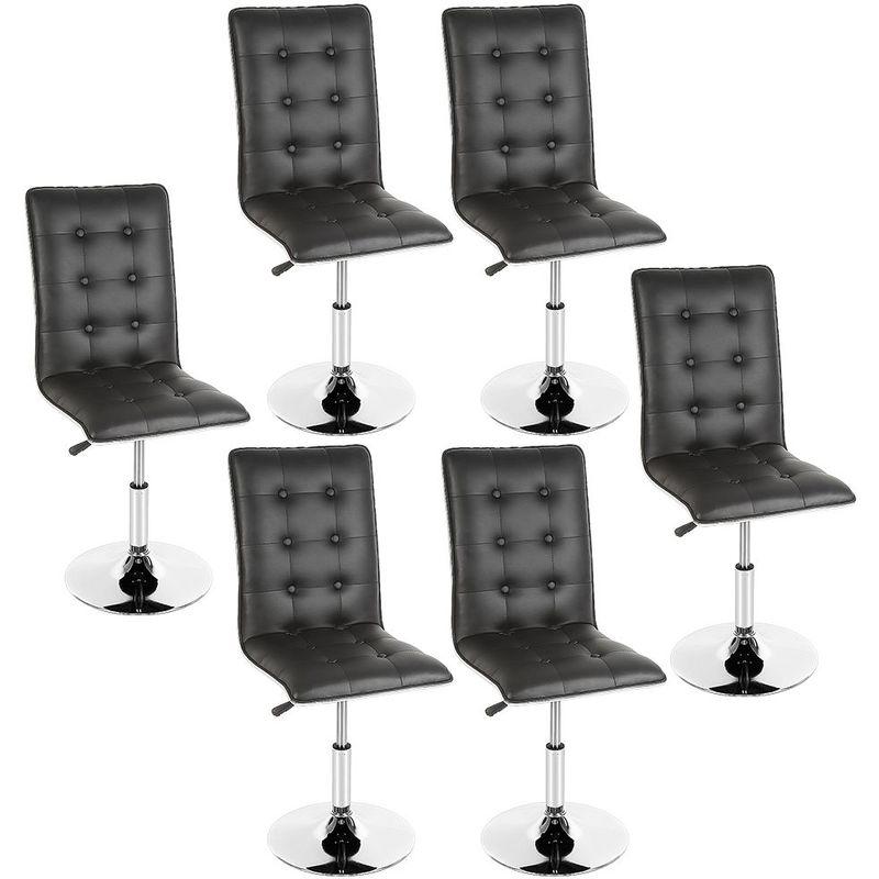 Lot de 6 Chaises de Salle à Manger Chaises de Salon en Simili Cuir en Pieds Métal Usage Domestique & Restaurants Noir