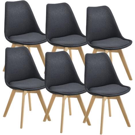 Lot de 6 Chaises de Salle à Manger Design Rembourrées en Polyester Sièges Stylés Pieds en Hêtre 97 x 42 x 48 cm Gris Foncé
