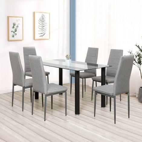 Lot de 6 chaises de salle à manger en simili, Chaise de cuisine,tissu, Style contemporain, gris, 6pcs-Mondeer