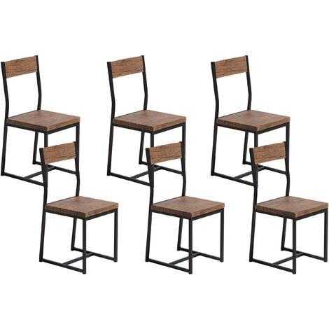Lot de 6 chaises de salle à manger marron LAREDO