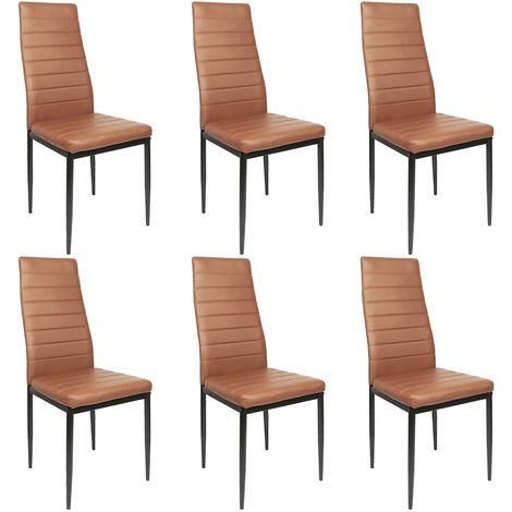 Lot de 6 chaises de salle à manger marron - Style contemporain