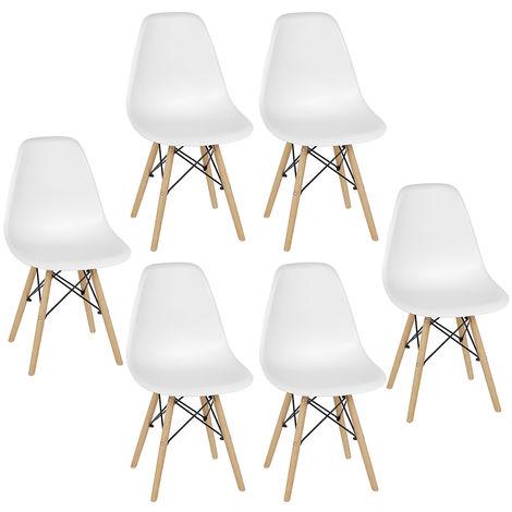 Lot de 6 chaises de salle à manger minimalistes modernes blanc