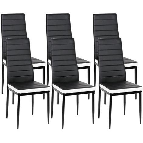 Lot de 6 chaises de salle à manger noir et blanc - Style contemporain