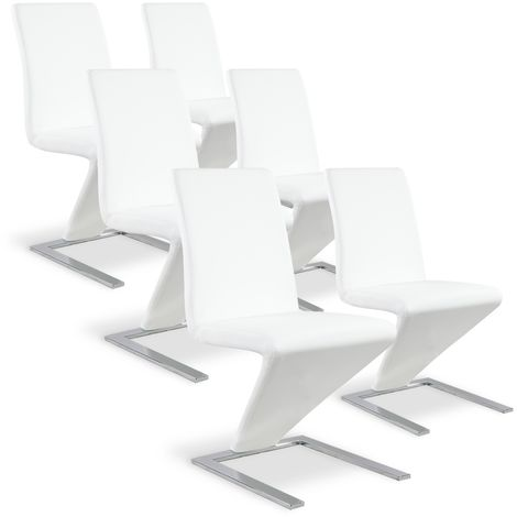Lot de 6 chaises design Delano Blanc