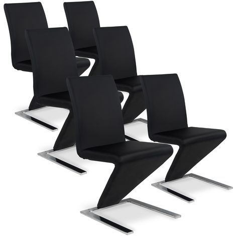 Lot de 6 chaises design Delano Noir