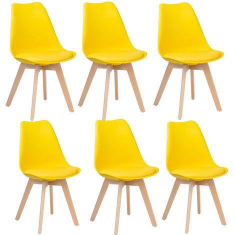 Lot de 6 chaises design scandinave jaune - Skagen - Jaune