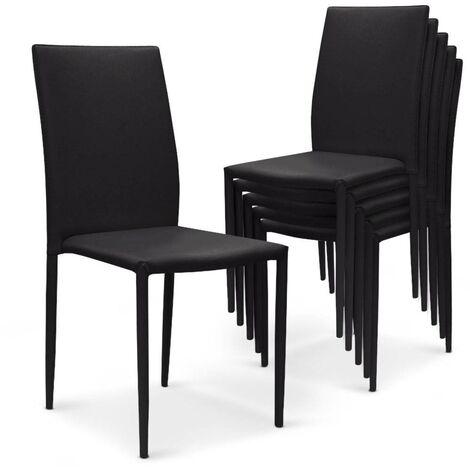 Lot de 6 chaises empilables Modan Simili (P.U) Noir - Noir