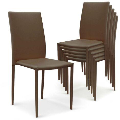 Lot de 6 chaises empilables Modan Simili (P.U) Taupe - Taupe