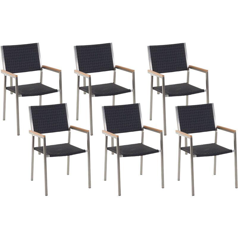 Beliani - Lot de 6 chaises en rotin et en acier GROSSETO